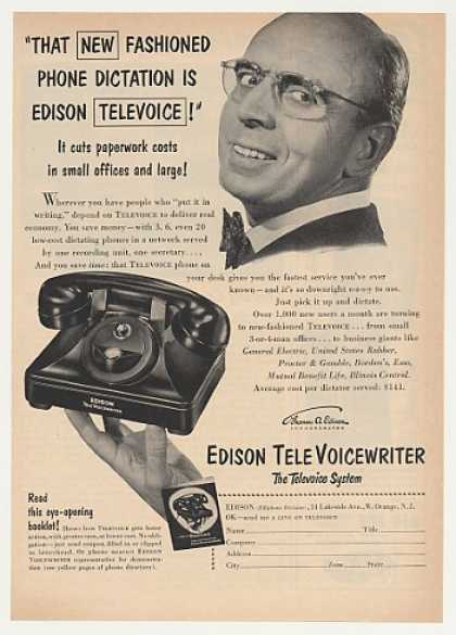 Edison TeleVoice TeleVoiceWriter Dictation Phone (1953)