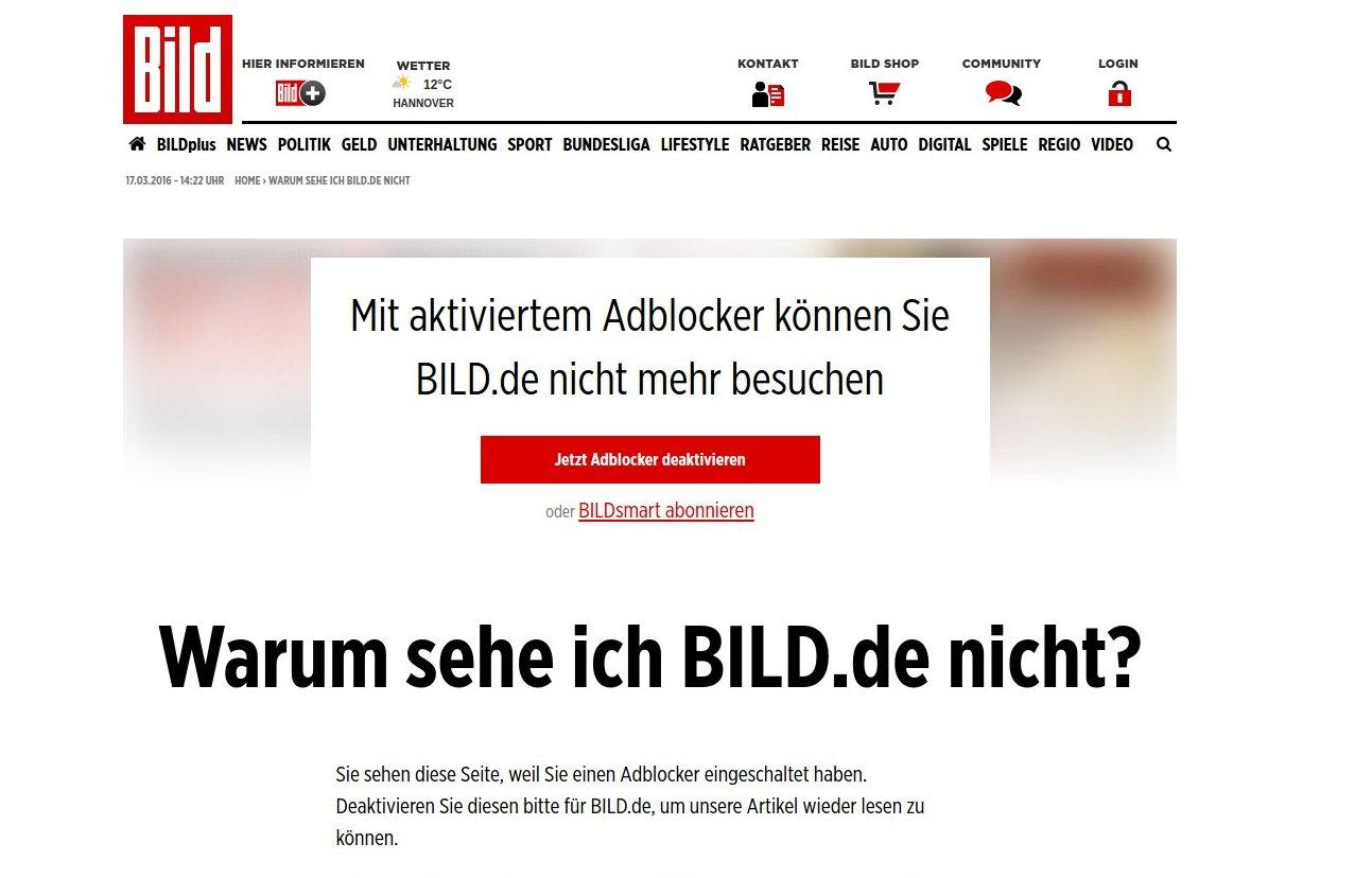 Bild Zeitung blockt AdBlocker
