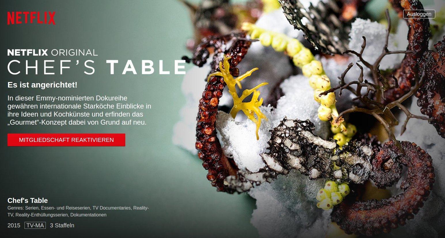 Chef's Table: Netflix Serie (Schreenshot von der Netflix Seite, Licence we give a sh** aber wir denken sowieso netflix freut sich ab der Publikation, von dem her easypeasy)