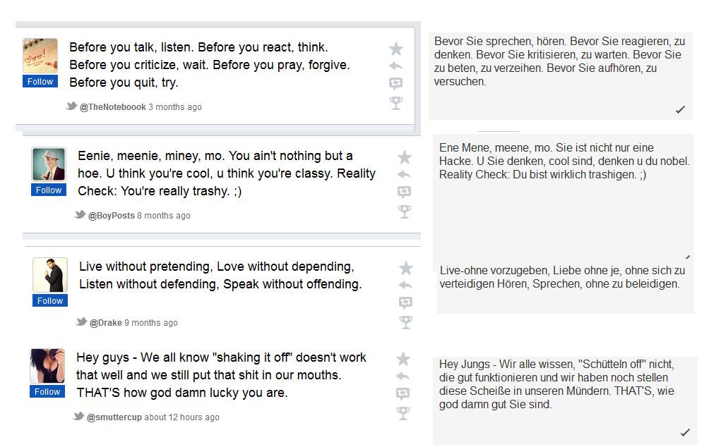 Tweets mit Google Translate übersetzt