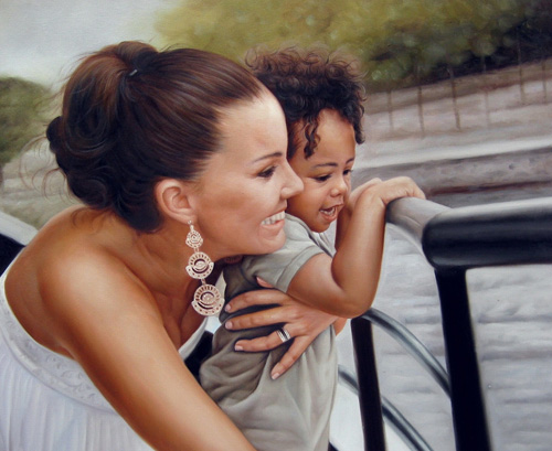 Frau und Kind - Ölgemälde
