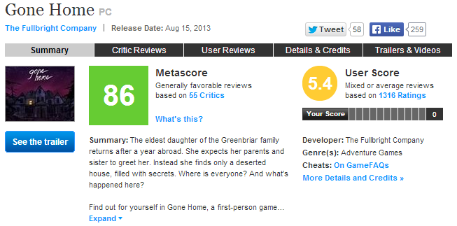 gone home metacritic