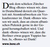 BONZ.CH in der Zürichseezeitung April 2011